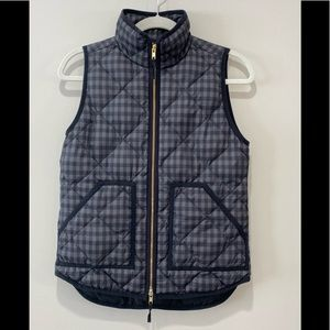 J. CREW Quilted Puffer Vest Black/Gray/Gold XXS